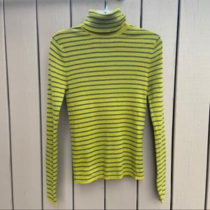 Old Navy long sleeve stripe turtleneck lime green